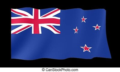New Zealander flag . Waving - Flag animation Background...