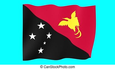 Papua New Guinean flag . Waving