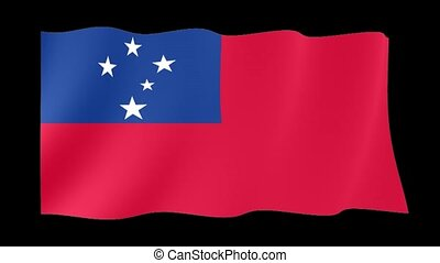 Flag of Samoa. Waving computer animatie. - Flag animation...