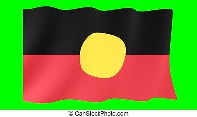 Flag of Australian Aboriginals. Waving flag computer...