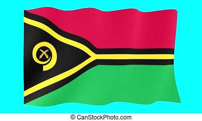 Vanuatu flag . Waving - Flag animation for using in foto's...