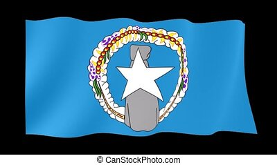 Flag of Northen Mariana Island. Waving flag - Flag animation...
