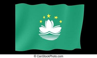 Flag of Macau. Waving flag