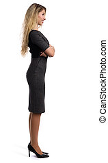 full length profile portrait of a beautiful businesswoman....