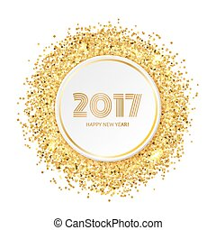 Circle with gold glitter particles, realistic vector...