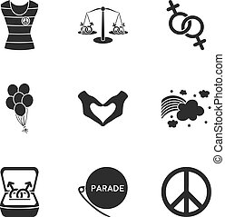 Gay set icons in black style. Big collection of gay vector symbol stock illustration
