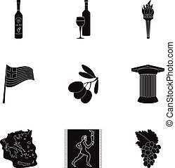 Greece set icons in black style. Big collection of Greece vector symbol stock illustration