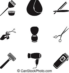 Hairdresser set icons in black style. Big collection of hairdresser vector symbol stock illustration