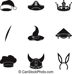 Hats set icons in black style. Big collection of hats vector symbol stock illustration