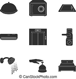 Hotel set icons in black style. Big collection of hotel vector symbol stock illustration