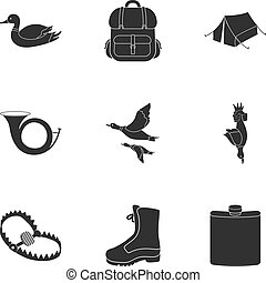 Hunting set icons in black style. Big collection of hunting vector symbol stock illustration
