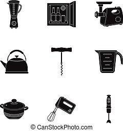 Kitchen set icons in black style. Big collection of kitchen vector symbol stock illustration