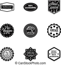 Label set icons in black style. Big collection of label vector symbol stock illustration