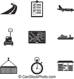 Logistic set icons in black style. Big collection of logistic vector symbol stock illustration