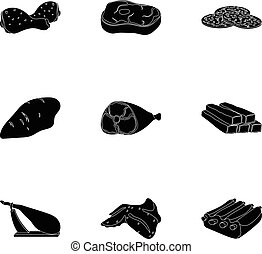 Meats set icons in black style. Big collection of meats vector symbol stock illustration