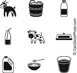 Milk set icons in black style. Big collection of milk vector symbol stock illustration