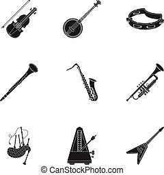 Musical instruments set icons in black style. Big collection...