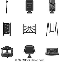 Park set icons in black style. Big collection of park vector...