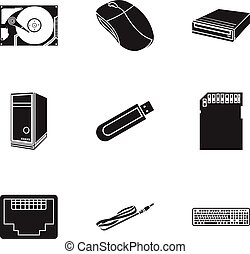 Personal computer set icons in black style. Big collection...