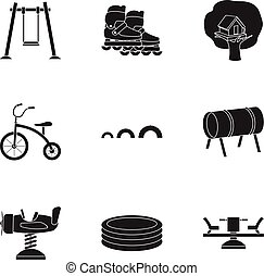 Play garden set icons in black style. Big collection of play...
