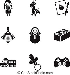 Toys set icons in black style. Big collection of toys vector symbol stock illustration