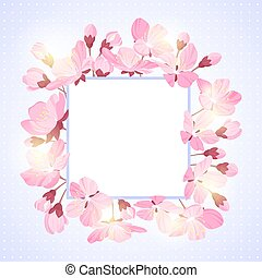 Spring lettering. Blossoming tree brunch with spring flowers on blue background. Vector illustration.