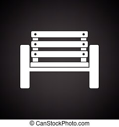 Tennis player bench icon. Black background with white....