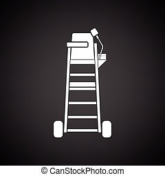 Tennis referee chair tower icon. Black background with...