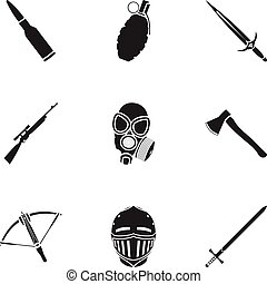Weapon set icons in black style. Big collection of weapon vector symbol stock illustration