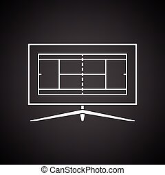 Tennis TV translation icon. Black background with white....