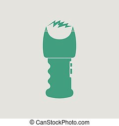 Stun gun icon. Gray background with green. Vector...