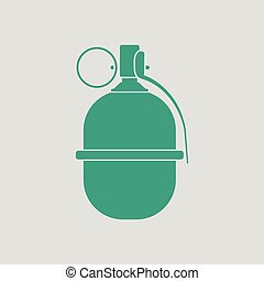 Attack grenade icon. Gray background with green. Vector...