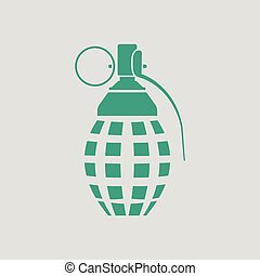 Defensive grenade icon. Gray background with green. Vector...