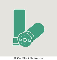 Hunt gun ammo icon. Gray background with green. Vector...