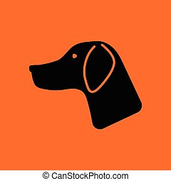Hunting dog had icon. Orange background with black. Vector...