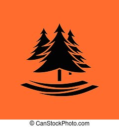 Fir forest icon. Orange background with black. Vector...
