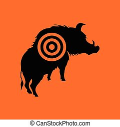 Boar silhouette with target icon. Orange background with...