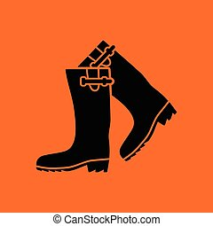 Hunter's rubber boots icon. Orange background with black....