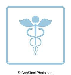 Medicine sign icon. Blue frame design. Vector illustration.