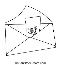 E-mail with virus icon in outline style isolated on white...