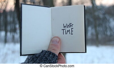 Winter time. Book and Hand written lettering. - Winter time...
