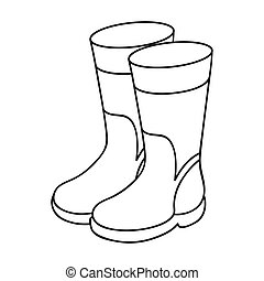 Rubber boots icon in outline style isolated on white...