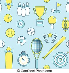 Sports line seamless pattern. Colorful illustration with...