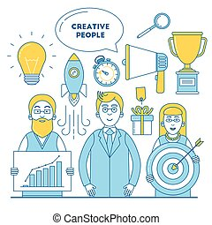 Creative people illustration with idea, promotion, research...