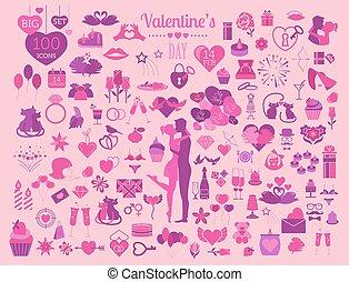 Valentine`s day icon set. Romantic design elements isolated...