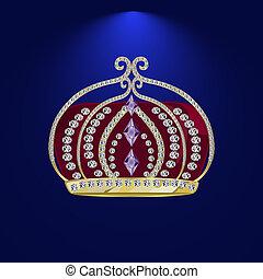 tiara with precious stones 3 - Royal Golden Crown. Golden...