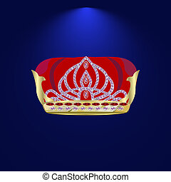 tiara with precious stones 4 - Royal Golden Crown. Golden...