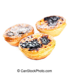 Pastel de Belem - Portuguese egg tarts pastry isolated on...