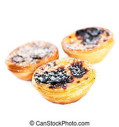 Pastel de Belem - Portuguese egg tarts pastry isolated on...
