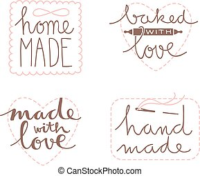 hand drawn label set - Collection of four cute hand drawn...